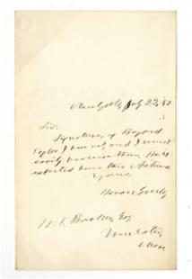 Horace Greeley Autograph Letter Signed Re: An Autograph
