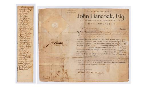 Patriot John Hancock Signed Appointment as Governor of