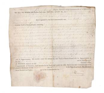 Patrick Henry Land Grant Signed During His Second Term