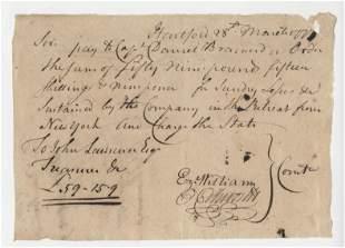 Oliver Ellsworth Signed 1777 Pay Order During the