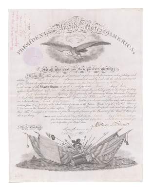 Millard Fillmore Signed Military Appointment