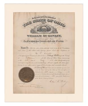 William McKinley Appointment Signed As Governor of Ohio