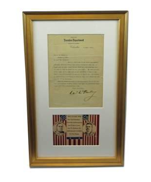 Framed Display! William McKinley TLS Re: Civil War