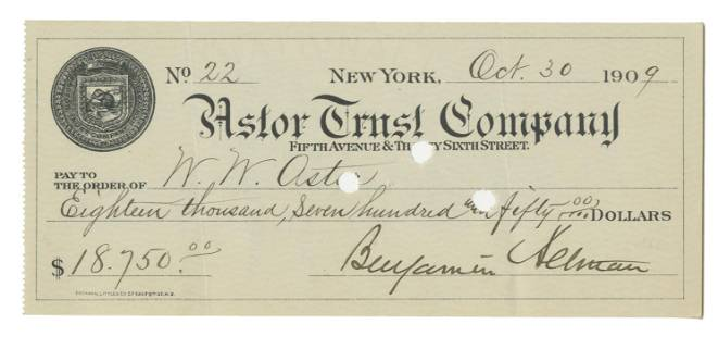 Benjamin Altman Signed Check to W.W. Astor, Worth