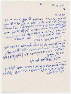 David Ben-Gurion Interesting Handwritten Notes on