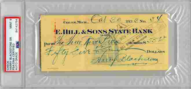 "Harry Blackstone, ""The Great Blackstone,"" Signed Check"