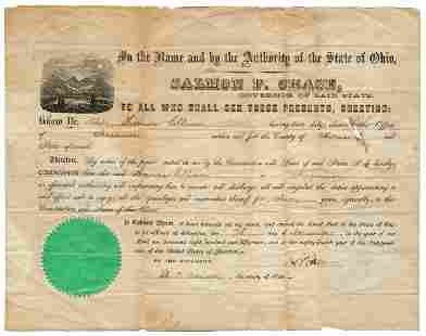 Salmon P. Chase as OH Governor Signed Appointment