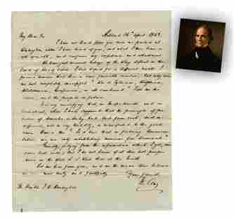 """Henry Clay ALS on 1844 Candidacy """"…We have just"""