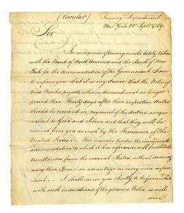 Alexander Hamilton Signed Communication Re: Counterfeit