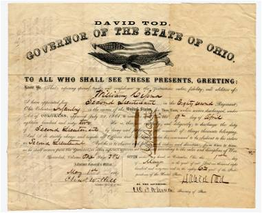 David Tod as OH Governor Signed Civil War-Dated