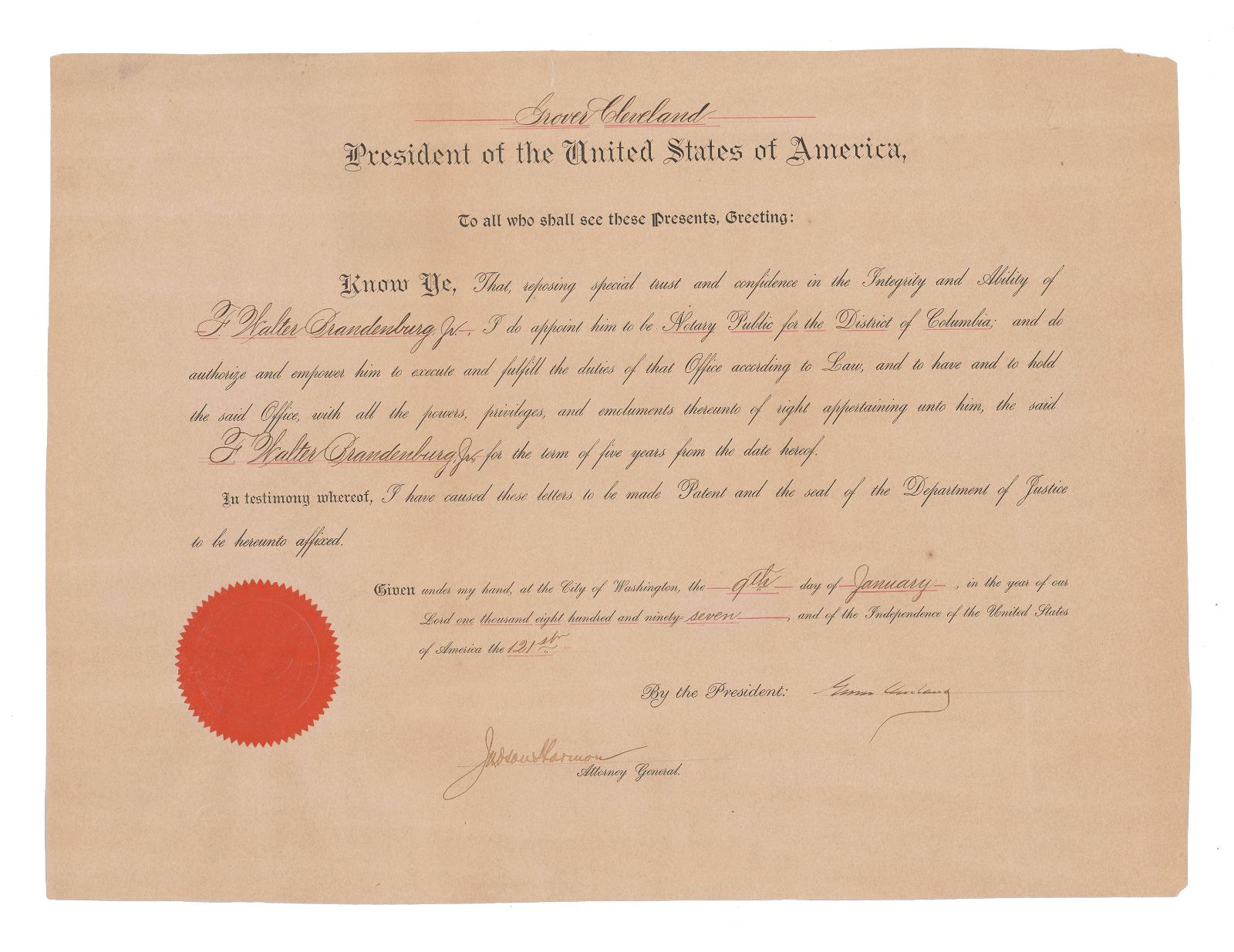 Grover Cleveland Signed Appointment for Notary Public