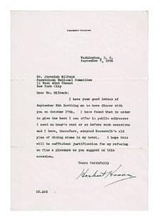 """Herbert Hoover TLS, """"I have adopted Roosevelt's old"""