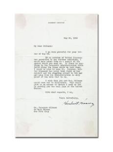 """Herbert Hoover TLS, Re: """"Roosevelt Administration"""""""