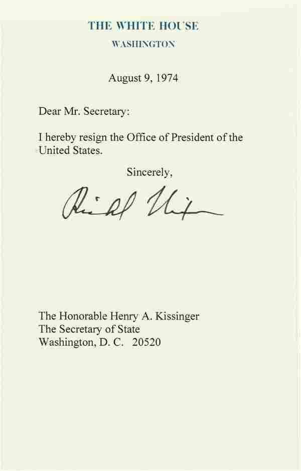 Nixon Signed Souvenir Resignation Letter