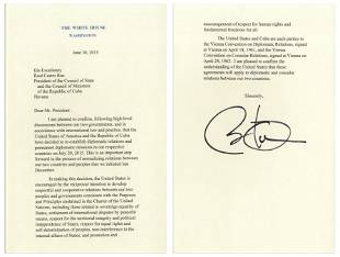 Obama Signed Souvenir Copy of Letter Re: Relations