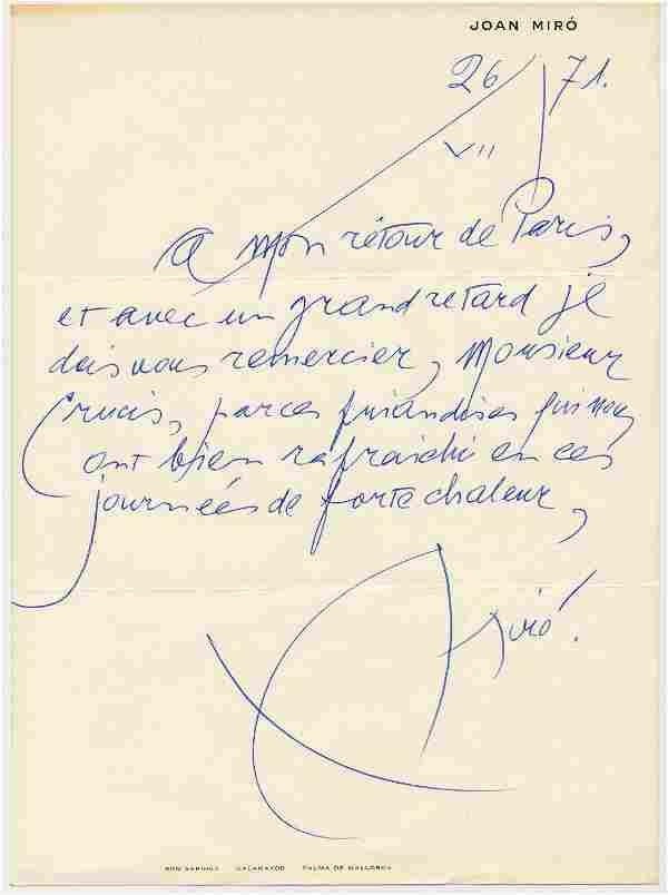Joan Miró ALS with Enormous Signature