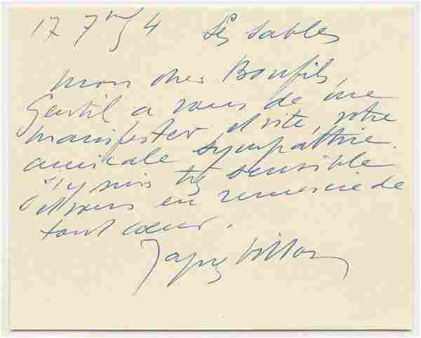 """Jacques Villon ALS: """"thank you with all my heart"""""""