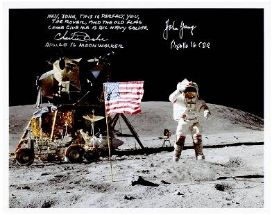 Fantastic Apollo 16 Moonwalkers Duke and Young Signed