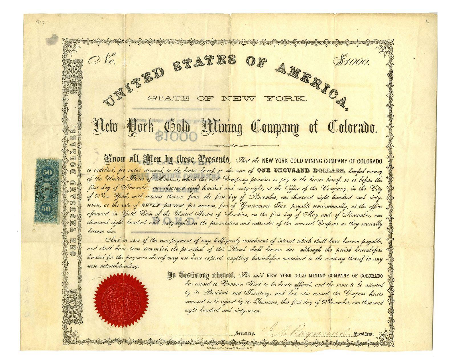 $1000 New York Gold Mining Company of Colorado 1867