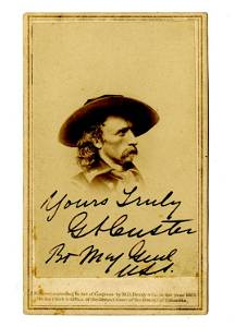 George Custer Signed CDV, Possibly the Finest Known!