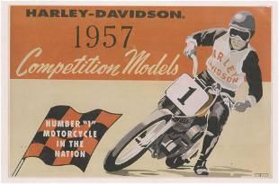 Vintage 1957 Harley Davidson Racing Advertising Poster