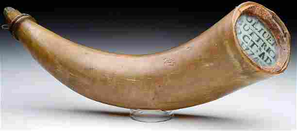 Extraordinarily Rare Revolutionary War Powder Horn Used