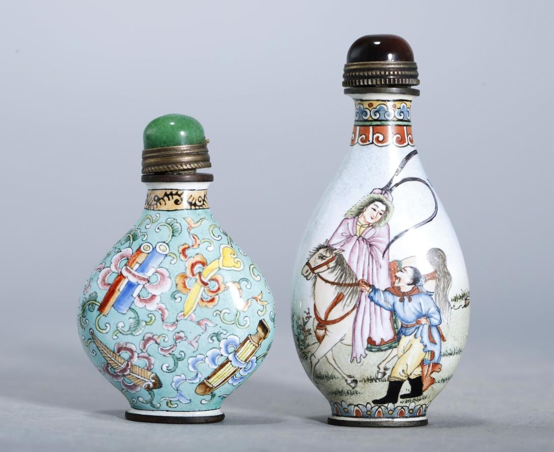 SET OF COPPER ENAMEL SNUFF BOTTLE