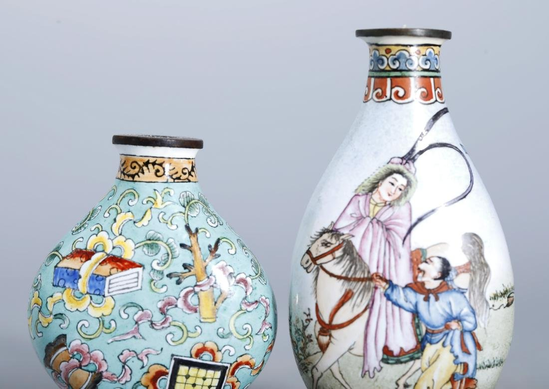 SET OF COPPER ENAMEL SNUFF BOTTLE - 4