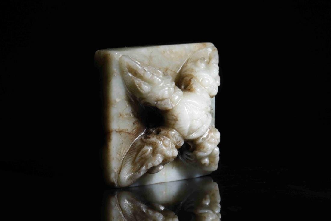 HETIAN JADE PAPERWEIGHT WITH INSTRUCTMENT CARVING - 6