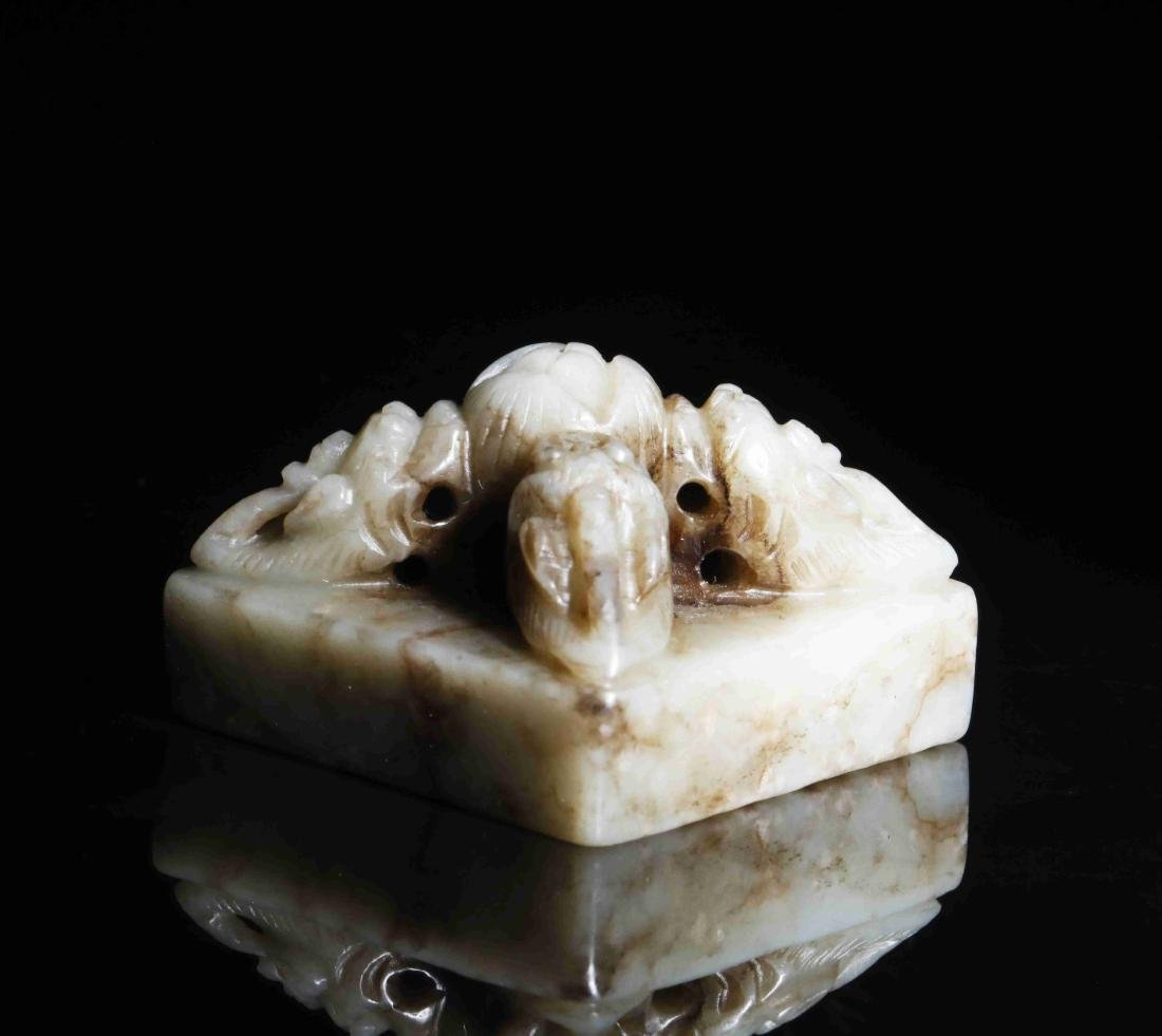 HETIAN JADE PAPERWEIGHT WITH INSTRUCTMENT CARVING