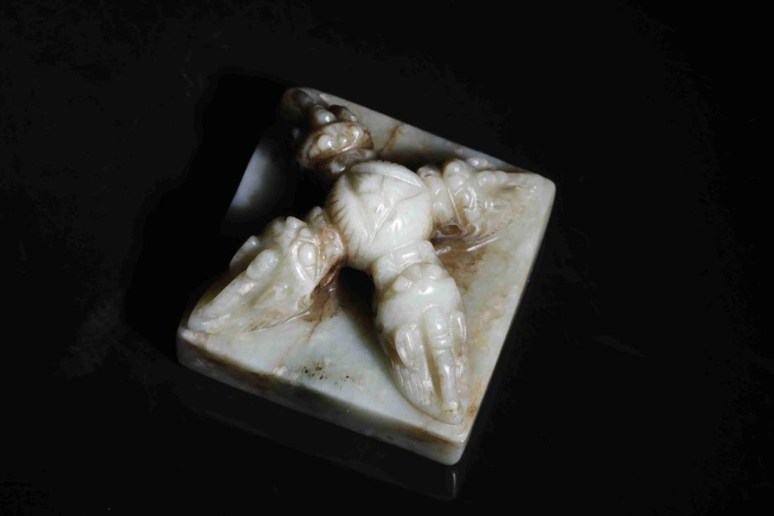HETIAN JADE PAPERWEIGHT WITH INSTRUCTMENT CARVING - 4