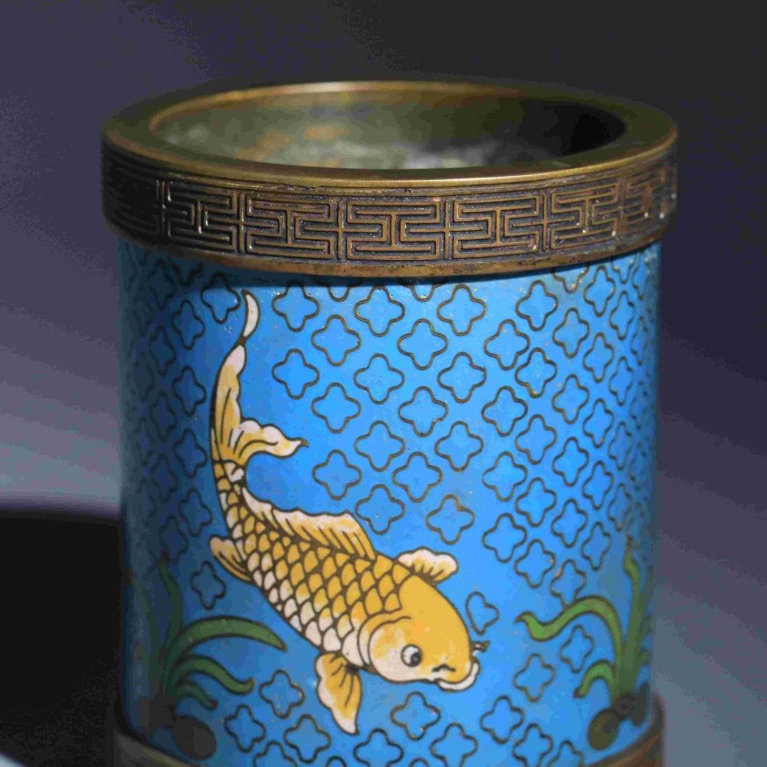 BRONZE GLAZED ENAMEL FISH PATTERN PEN CONTAINER - 4