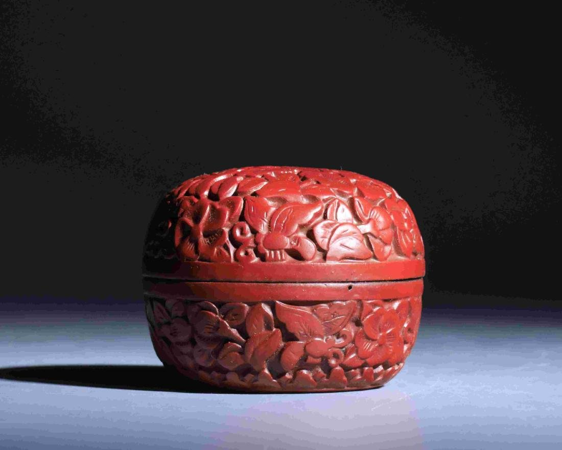 QING DYNASTY LACQUERWARE ROUND POWDER BOX - 2