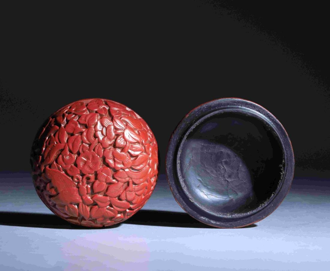 QING DYNASTY LACQUERWARE ROUND POWDER BOX - 4