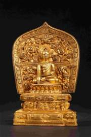 QING DYNASTY GUILDING BUDDHA WITH BACK LIGHT