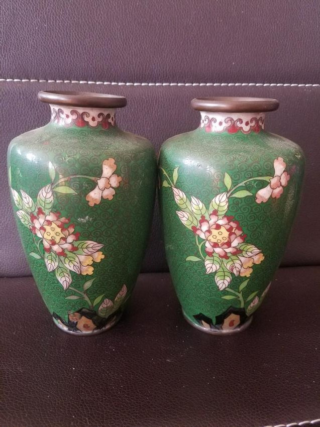 A Pair of Cloisonne with Copper Tire