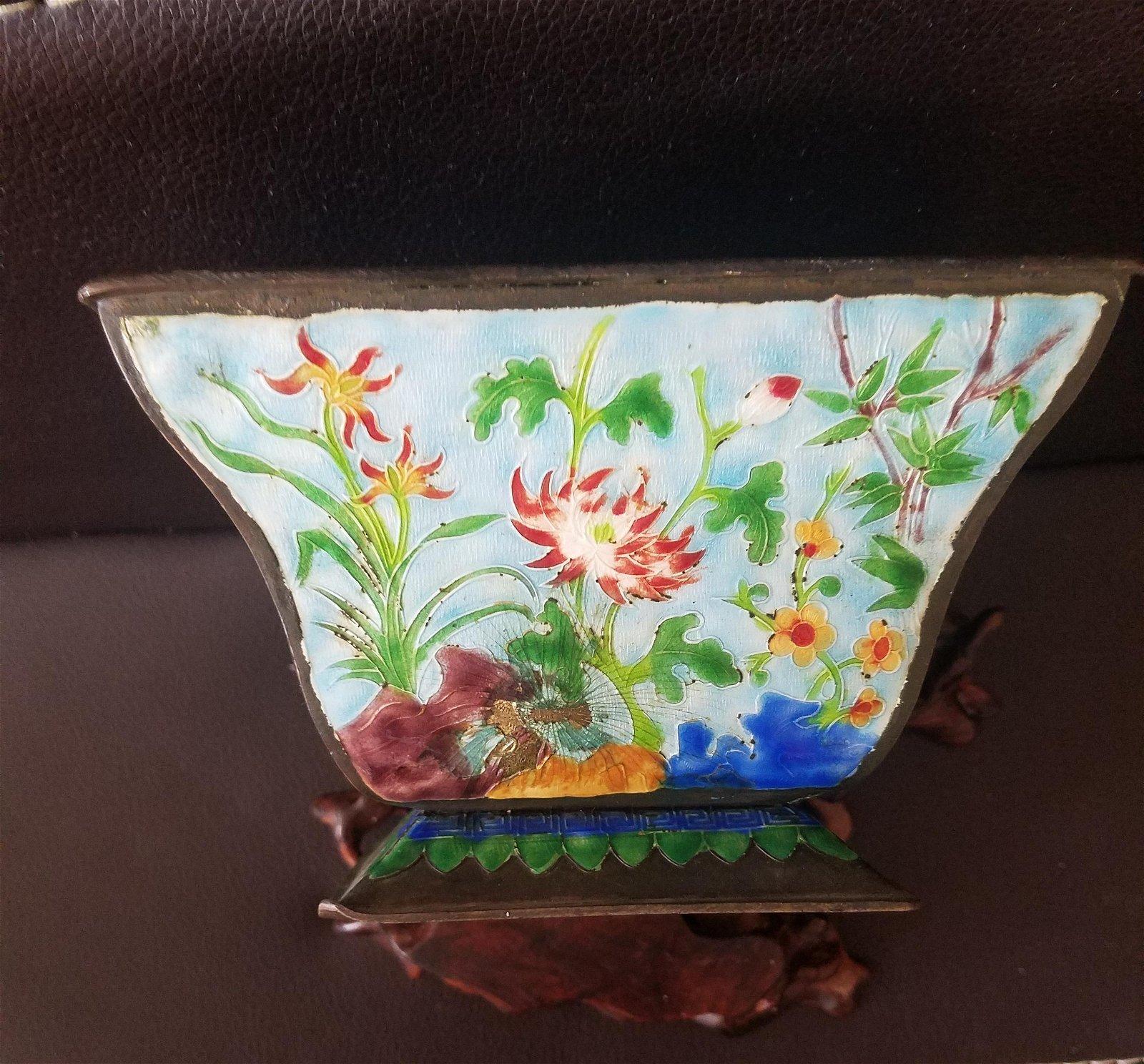 A Cloisonne Square Bowl