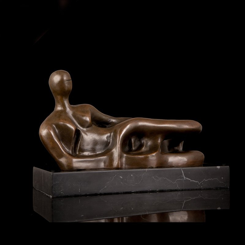 Bronze Nude Woman Lying Sculpture - 2