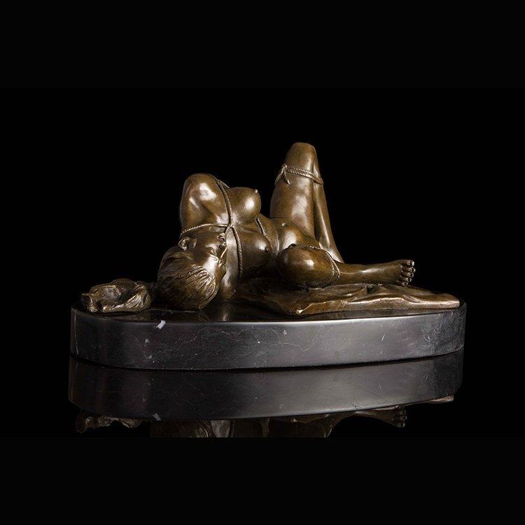Bronze Art Deco Nude Women statue - 2