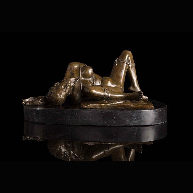 Bronze Art Deco Nude Women statue - 3
