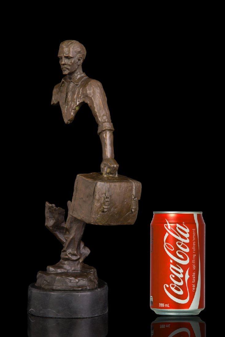 Bronze abstract traveller statue - 7