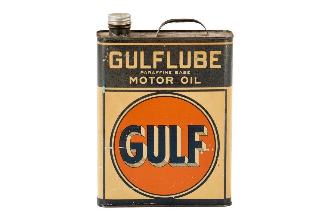 Gulflube Motor Oil gallon metal flat can