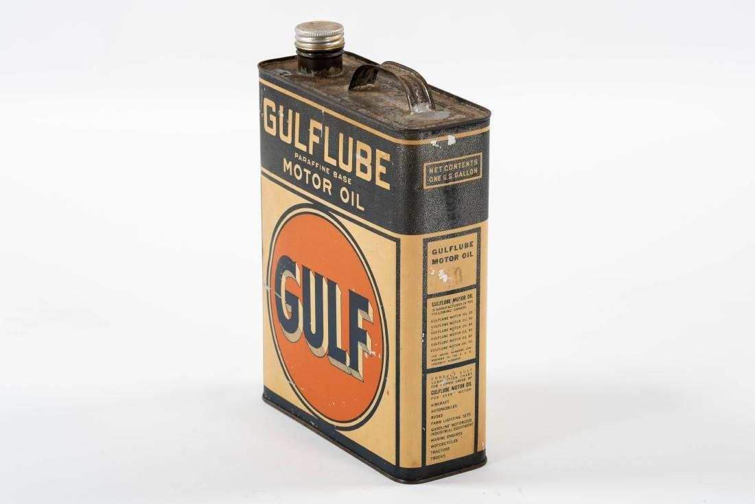 Gulflube Motor Oil gallon metal flat can - 2