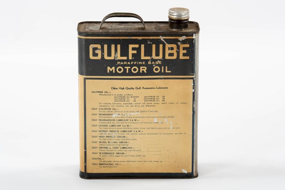 Gulflube Motor Oil gallon metal flat can - 3