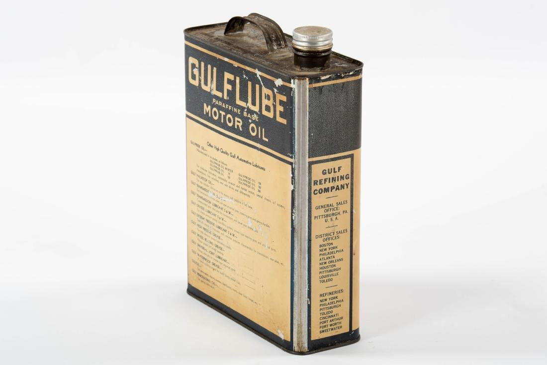 Gulflube Motor Oil gallon metal flat can - 4