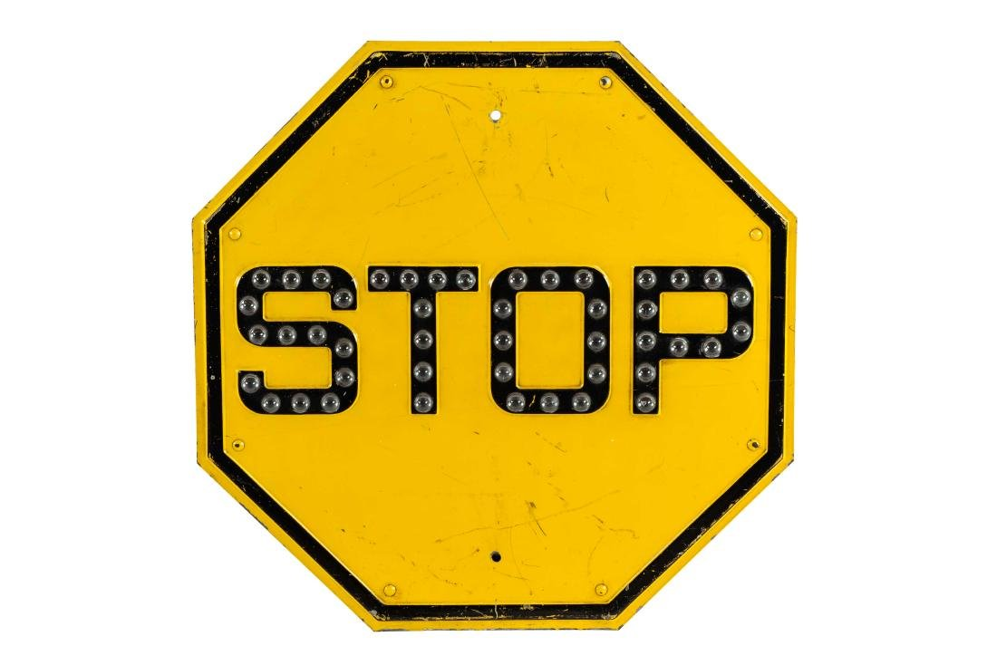 Stop Sign With Glass Reflectors