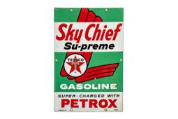 Texaco Sky Chief Su-preme Porcelain Gas Pump Plate