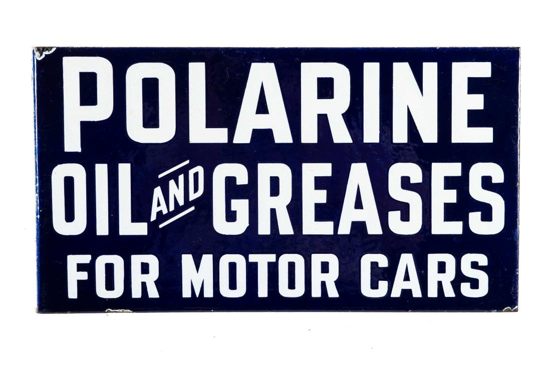 Polarine Oil And Greases Porcelain Flange Sign - 3