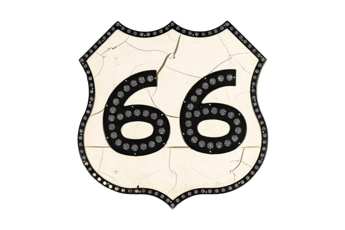 Route 66 Tin Sign With Reflectors