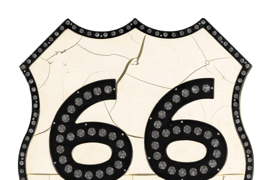 Route 66 Tin Sign With Reflectors - 2